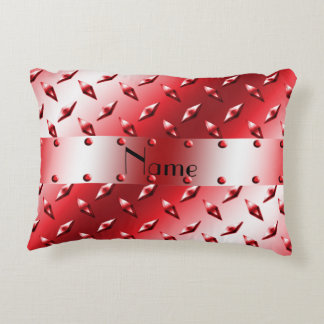 Custom name red diamond plate steel accent pillow