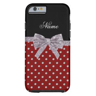 Custom name red diamonds silver glitter bow tough iPhone 6 case