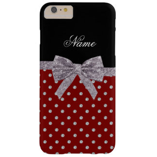 Custom name red diamonds silver glitter bow barely there iPhone 6 plus case