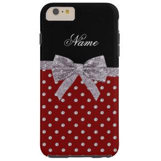 Custom name red diamonds silver glitter bow tough iPhone 6 plus case