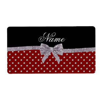 Custom name red diamonds silver glitter bow custom shipping labels