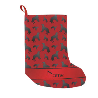 Custom name red flat coated retriever dogs small christmas stocking