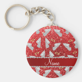 Custom name red glitter angel wings basic round button keychain