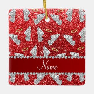 Custom name red glitter angel wings ceramic ornament