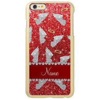Custom name red glitter angel wings incipio feather® shine iPhone 6 plus case