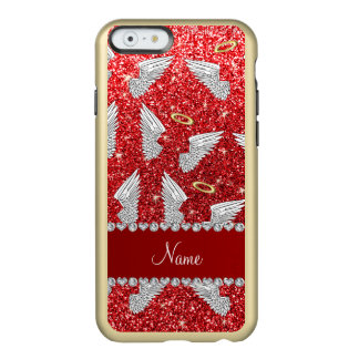 Custom name red glitter angel wings incipio feather® shine iPhone 6 case