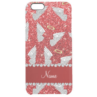 Custom name red glitter angel wings uncommon clearly™ deflector iPhone 6 plus case