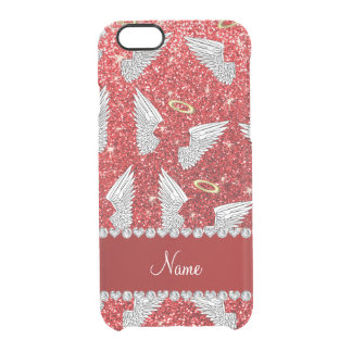 Custom name red glitter angel wings uncommon clearly™ deflector iPhone 6 case