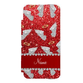 Custom name red glitter angel wings incipio watson™ iPhone 5 wallet case