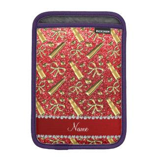 Custom name red glitter gold lipstick iPad mini sleeve