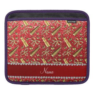 Custom name red glitter gold lipstick iPad sleeves