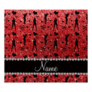 Custom name red glitter golf hearts bows poster