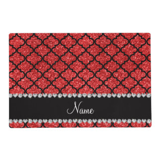 Custom name red glitter moroccan laminated placemat