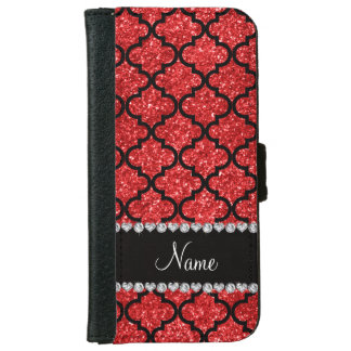 Custom name red glitter moroccan iPhone 6 wallet case