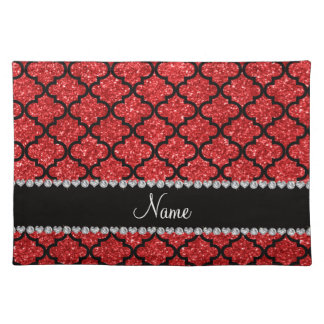 Custom name red glitter moroccan cloth placemat