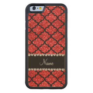 Custom name red glitter moroccan carved® maple iPhone 6 bumper
