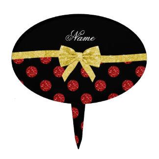 Custom name red glitter polka dots gold bow cake topper