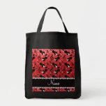 Custom name red glitter violins music notes grocery tote bag