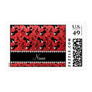 Custom name red glitter violins music notes stamps