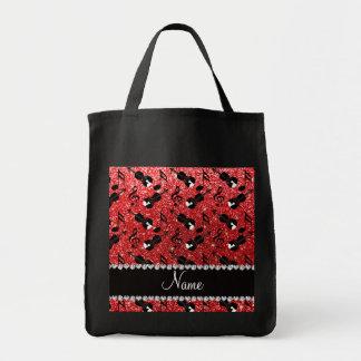 Custom name red glitter violins music notes tote bag