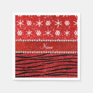 Custom name red glitter zebra snowflakes disposable napkins