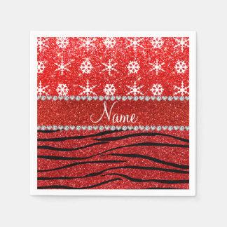 Custom name red glitter zebra snowflakes standard cocktail napkin