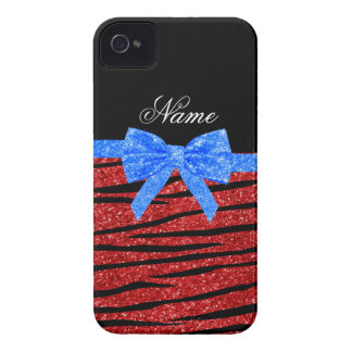 Custom name red glitter zebra stripes blue bow blackberry bold cases