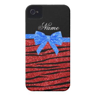 Custom name red glitter zebra stripes blue bow iPhone 4 cases