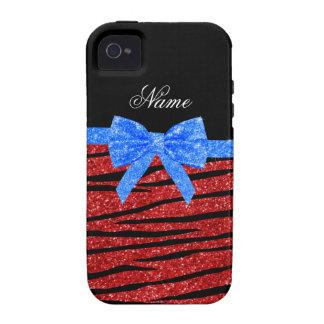 Custom name red glitter zebra stripes blue bow iPhone 4 case