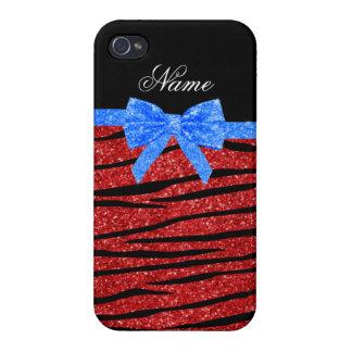Custom name red glitter zebra stripes blue bow iPhone 4 cover