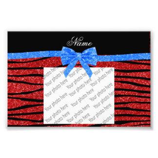 Custom name red glitter zebra stripes blue bow photo print