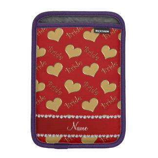 Custom name red gold bride hearts iPad mini sleeves