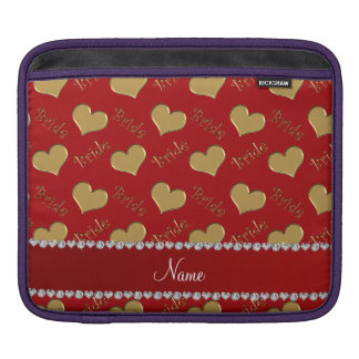 Custom name red gold bride hearts sleeves for iPads