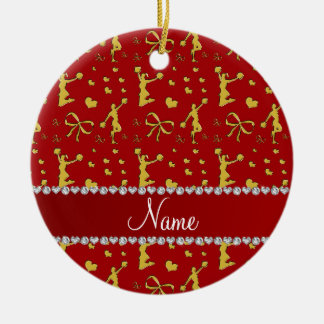 Custom name red gold cheerleading bows hearts ceramic ornament