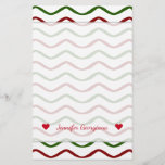 [ Thumbnail: Custom Name + Red & Green Wavy Lines Pattern Stationery ]