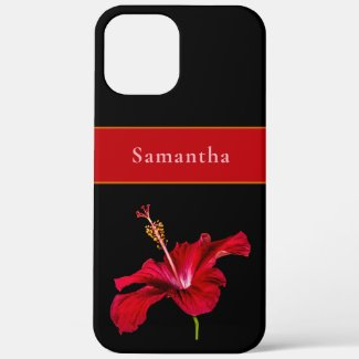 Custom Name Red Hibiscus Flower Side Tropical Case-Mate iPhone Case by Sandyspider