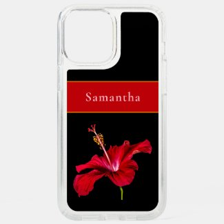 Custom Name Red Hibiscus Flower Side Tropical Speck iPhone Case by Sandyspider