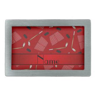 Custom name red hockey sticks pucks nets belt buckles