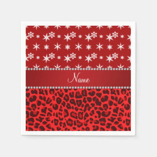 Custom name red leopard red snowflakes red stripe paper napkins