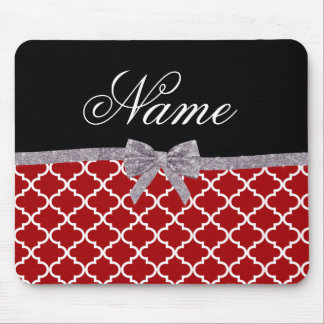 Custom name red moroccan pattern silver bow mouse pad