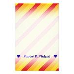 [ Thumbnail: Custom Name; Red, Orange, Yellow Stripes Pattern Stationery ]