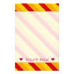 [ Thumbnail: Custom Name + Red, Orange, Yellow Stripes Pattern Stationery ]