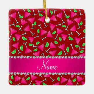 Custom name red pink cosmos limes ceramic ornament