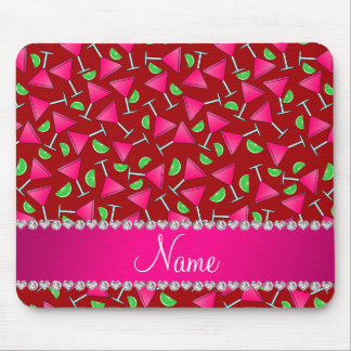Custom name red pink cosmos limes mouse pad