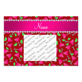 Custom name red pink cosmos limes photo print