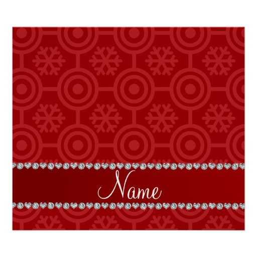 Custom name red retro snowflakes poster