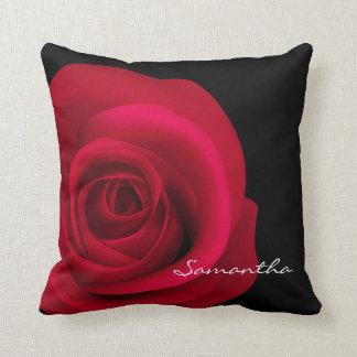 Custom Name Red Rose Pillows Throw Pillows