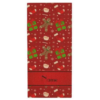Custom name red santas gingerbread wood USB 2.0 flash drive