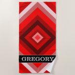 [ Thumbnail: Custom Name + Red Shaded Squares Pattern Beach Towel ]