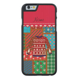 Custom name red snowman ugly christmas sweater carved maple iPhone 6 case